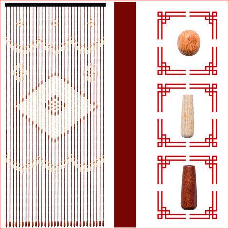 90x208cm 31 line retro wooden bead curtain blinds door curtain mosquito net for porch bedroom living room bathroom