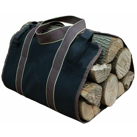 Canves Firewoo Carrier Bag Basket Strongd Collector Water Resistant Wooden Rack