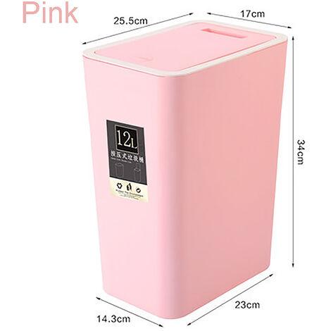 12 Liter Rectangular Plastic Waste Bin with Press-Type Lid, for Bathroom, Powder Room, Bedroom, Kitchen, Craft Room, Office (Pink)