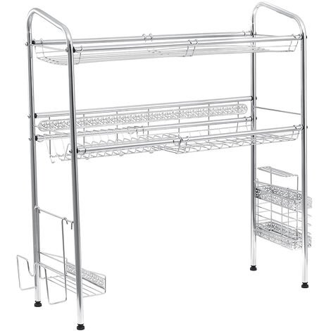 Double Tier Over The Sink Dish Drying Rack Holder Shelf Drainer Storage Organize(70cm)