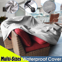 90x90x90cm PVC Furniture Cover Covers Waterproof Patio Rattan Table Cube (Silver, 90x90x90cm)