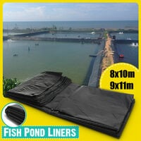 9X11M Durable Black Fish Pond Liners Reinforced HDPE Membrane Outdoor Garden Pools Landscaping