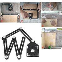 Six-Sided Aluminum Alloy Angle Measuring Tool Tile Hole Locator Mud Tile Shop Paste Floor Tile Glass Vientiane Universal Hole Punch Tool