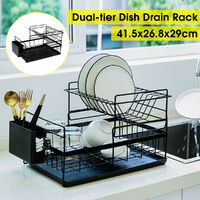 Two-tier dish rack drying rack stainless steel kitchen shelf (black, type A)