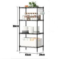 Adjustable Garage Shelf Steel Metal Shelf Home Living Decor Book Shelf Rack Organization (Black, 4 Tier 45X30x90cm)