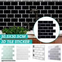 1PC 3D Brick Tile Stickers Bathroom Kitchen Wall Self Adhesive Sticker (Black, 30.5cm / 12in)