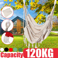 Canvas Swing Hanging Hammock Cotton Rope Tassel Tree Chair Bed Outdoor Camping Hiking Home Garden Indoor Bedroom Safety (White, 02 White Without Pillow)
