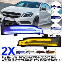 2X Dynamic LED Side Mirrors Indicator Turn Signal Light For Mercedes W204 W212 (Amber + Blue)?(blue, yellow and blue)