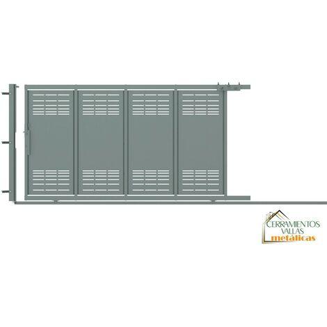 Puerta Corredera Con Peatonal Integrada 3.5x2 - Modelo Toledo Galvanizado