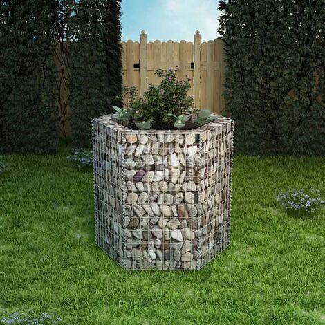 Hexagonal Gabion 100cm x 90cm Metal Raised Flower Bed by Dakota Fields - Silver