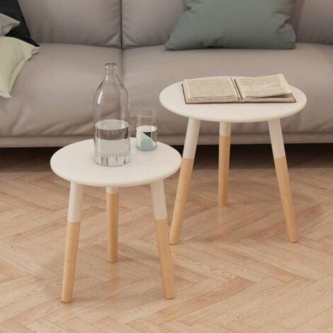 Josephus Solid Pinewood 2 Piece Nest of Tables by Brayden Studio - White