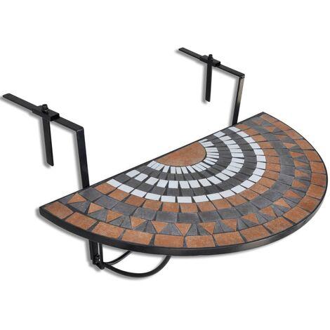 Aranda Folding Iron Balcony Table by Dakota Fields - Brown
