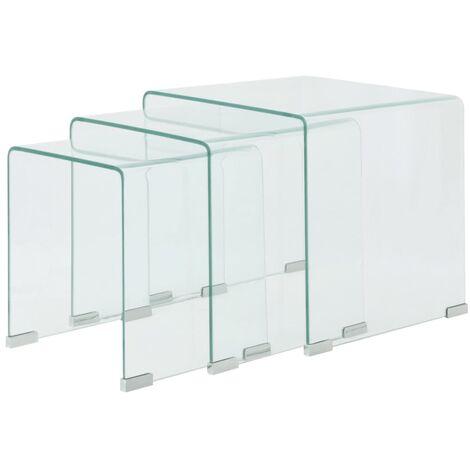Joetta Tempered Glass 3 Piece Nest of Tables by Brayden Studio - Transparent
