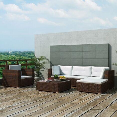 Corbett 6 Seater Rattan Corner Sofa Set by Dakota Fields - Brown