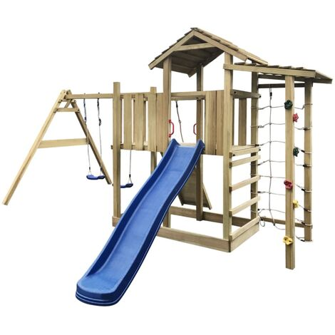 Playhouse with Slide Ladder Swing Set by Freeport Park - Brown