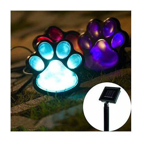 lumière de jardin solaire chien chat patte LED lampe solaire lumière 4 pattes au sol pour patio jardin décor passerelle.
