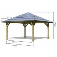 Kiosque carré Holm 1 avec balustrade et plancher 4,31x4,31m Karibu