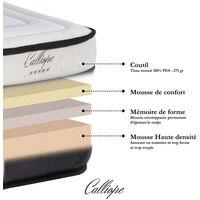 Matelas Calliope mémoire de forme + mousse HD - 140 x 190 cm