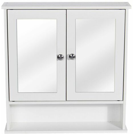 Wall Mounted Bathroom Cabinet Bathroom Cabinet - 2 Locking Doors with Mirror Kitchen Storage Cabinet WASHED