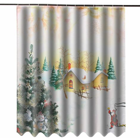 3D Christmas Theme Waterproof Polyester Shower Curtain With 12 Hooks For Home WASHED