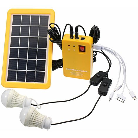 Solar System Generator Panel 3W USB Phone charger +2 Bulbs WASHED