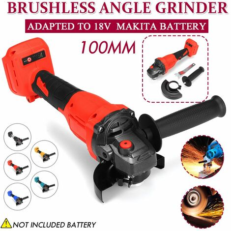 800W 100mm Brushless Cordless Angle Grinder Multifunction Polisher Cutting Tool for Makita 18V Battery (Red)