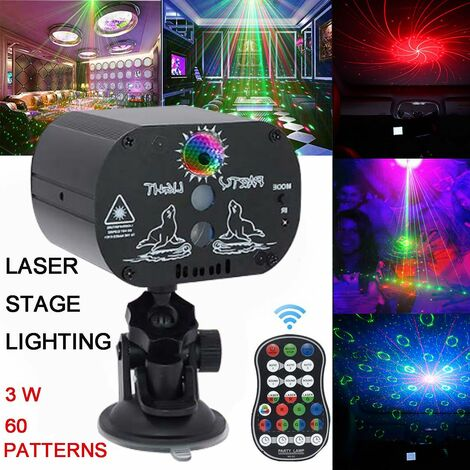 60 Models RGB LED Laser Light Projector Stage Light Home Party KTV Disco DJ Club Lamp with Remote Control