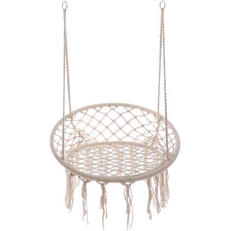 Hanging Hammock Indoor Outdoor Swing Cotton Rope Chair Patio White