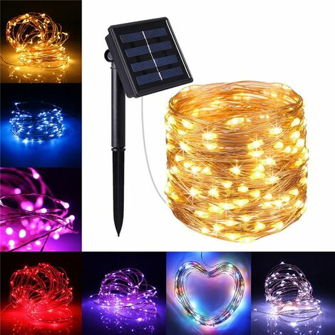 Solar Powered 10M 100 LED Strip Fairy String Silver Wire Waterproof Light Landscape Decoration for Christmas Tree and Indoor & Outdoor & Garden Wedding Party Decor (Multicolor, Silver Wire)