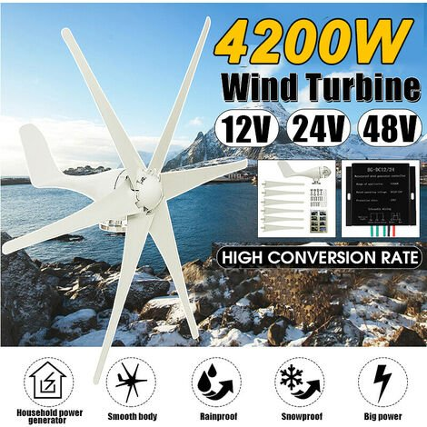 horizontal residential wind turbine 800W 6 blades nylon fiber NEW (white, 24V without controller)