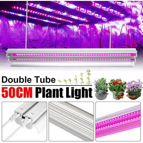 20W T5 48 LED 50CM Grow Full Spectrum Plant Light Double Strip Lighting Tube High Efficiency Hydroponic Horticulture Aluminum Greenhouse Chandelier (UK Plug)