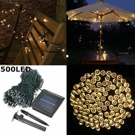 50M 500 LED Solar Powered Fairy String Lights Waterproof Strip Lighting With Solar Panel + Ground Stake Landscape Garden Outdoor Christmas Decoration Home Party (warm white, 50M 500LED)