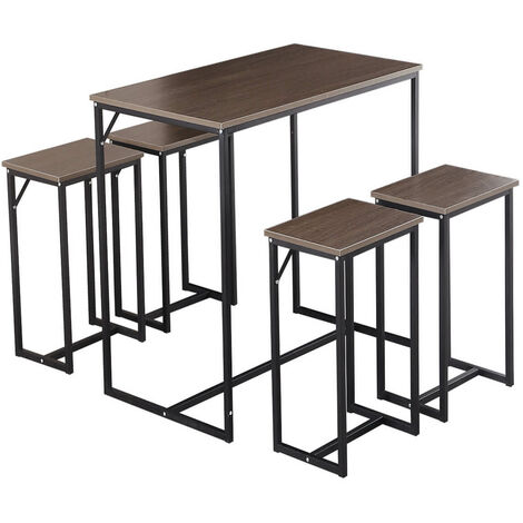 4 Seater Dining Table & Chair Set Steel Frame Retro Kitchen Dinette Dining Furniture -Woodyhome (Grey brown)