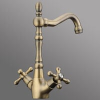 Retro Antique Kitchen Sink Mixer Tap Dual Handles Brass Bronze Faucet - Bronze