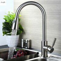 Modern Kitchen Sink Mixer Taps Swivel Spout Basin Faucet Chrome Mono Faucet LAVENTE - Argent