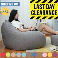 Blanket for Pear Beanbag Lazy Sofas Cotton Linen Deckchair Seat Bean Bag 100x120cm gray WASHED