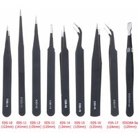 9x All Purpose Precision Tweezers Set Anti Static Stainless Steel Tool + WASH Bag