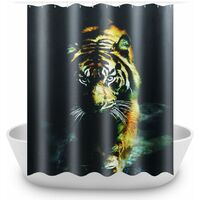 Tiger Waterproof Polyester Bathroom Shower Curtain + 12 Hooks 180x180cm WASHED