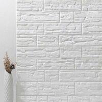 5PCS Set 3D Tile Brick Wall Sticker, 70x70cm Self Adhesive DIY White Foam Board