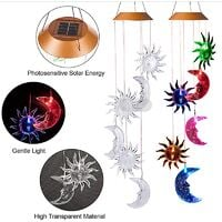 7 Colors LED Solar and Lunar Solar Chimes for Outdoor - Waterproof LED Color Changing Light Color Wind Chime, Six Wind Chimes and Moons for Home, Party, Night Garden Decoration
