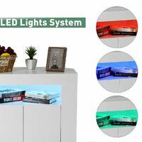 Modern TV Stand High Gloss Door Matte Body W/ RGB LED lights -White