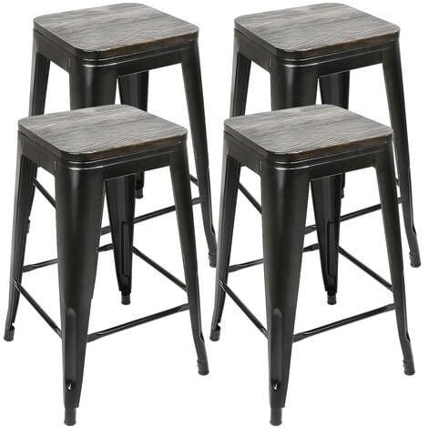 Lot de 4 Tabourets de Bar en Bois et Métal Tabouret Haut Industriel 76.5 cm pour Cuisine Bistrot Salle à Manger Intérieur et Extérieur Noir