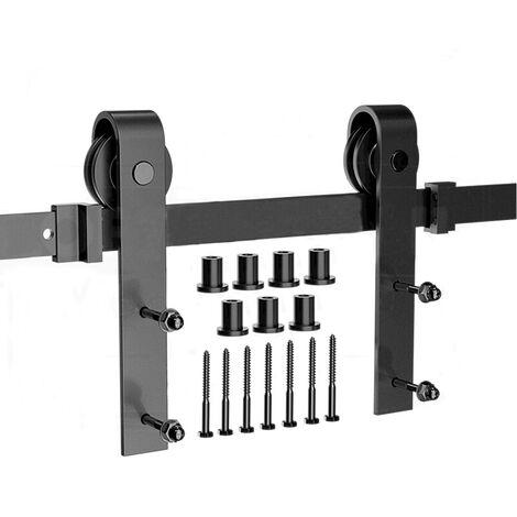 8Ft. 244cm Quincaillerie pour Porte Coulissante, Kit de Rail pour Porte Suspendue, Ensemble Complet Industriel avec Roulettes, Système de Porte Coulissant- 3 section - Style 1