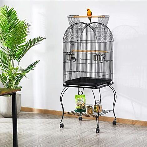 Cage Oiseaux Volière Portable Toit Ouvrable Design pour Perruche Calopsitte Canari 59*59*150cm avec Support Détachable