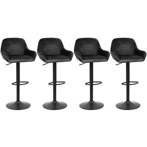 Lot de 4 Tabouret de Bar en Velours Hauteur D'assise Réglable 60-82 cm pour Bar Salle à Manger Salon - Noir