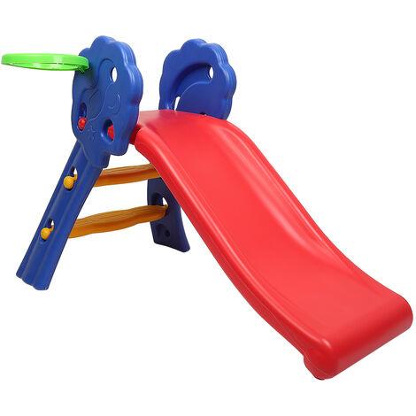 Toboggan Aire de Jeux pour Enfants, Aire de Jeux avec Panier de Basket, Toboggan Extérieur et à l'Intérieur, pour Enfants 3-8 Ans, 106 x 59 x 77CM