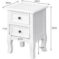 Haute Qualité Table de Chevet 2 PCS avec 2 Tiroirs MDF 35*30*50cm Blanc