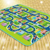 Tapis de Jeux Bébé Enfant, Tapis de Jeu Circuit Voiture de Course 160x130CM