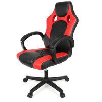 Chaise De Bureau Fauteuil Racing Gaming Confortable Ergonomique De Bureau en Similicuir Siège Sport Pivotant Ordinateur, Rouge Noir