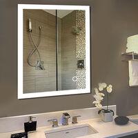 Miroir de Mur de Salle de Bains, Commande Tactile éclairée ,avec Fonction Anti-buée, 2835 LED Strip Angle Droit (70*50cm)